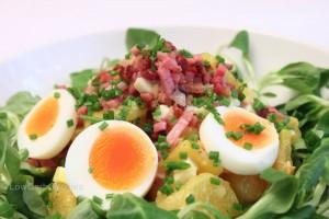 Kartoffel-Ei-Salat mit Speckwürferl