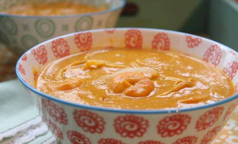 Thai-Kürbissuppe mit Garnelen