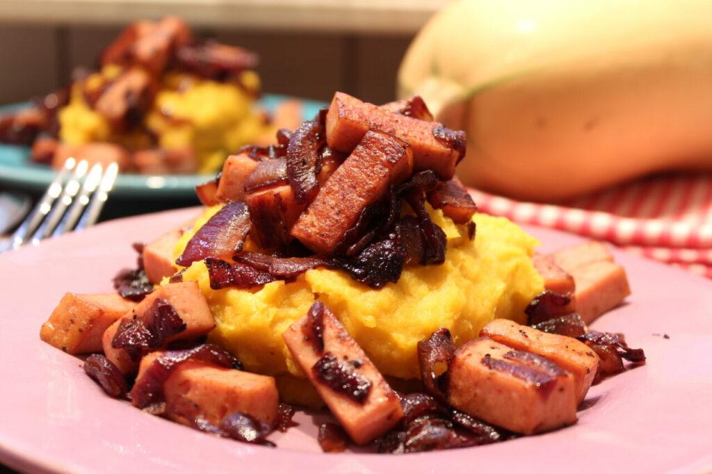 Low Carb Kartoffel-Kürbis-Püree mit Schlemmergeröstetem