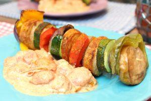 Fleischwurst-Gemüsespieße