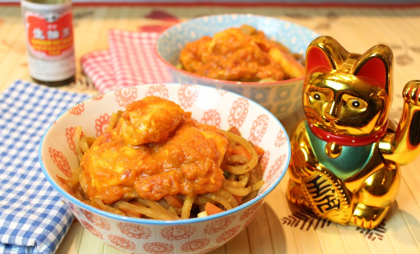 Tomatiges Lachs-Curry mit Rettich-Goreng