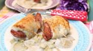 Röstchicorée mit Hähnchen-Salami-Sticks