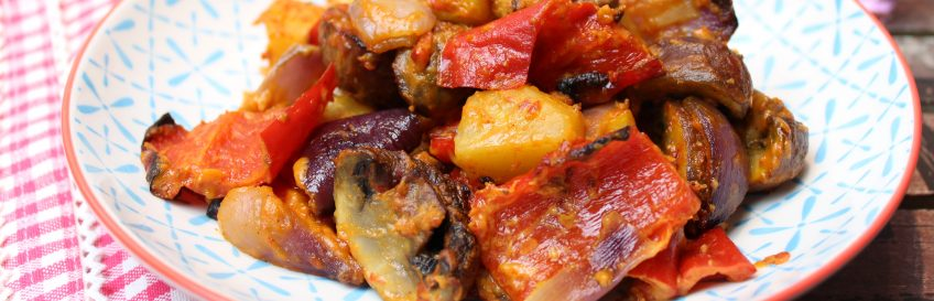 Ofengemüse mit Paprika-Mandel-Pesto