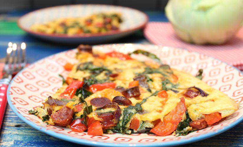 Chorizo-Kohlrabigrün-Frittata