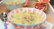 Low Carb Kartoffel-Kresse-Suppe mit Krabben