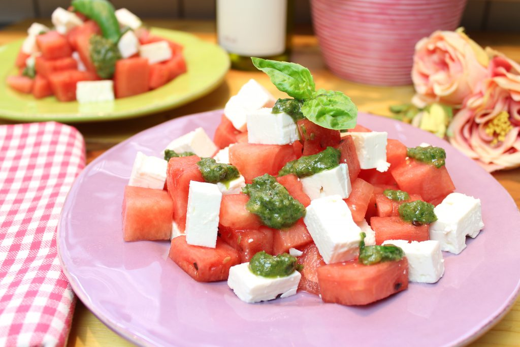 salat melone schafskäse