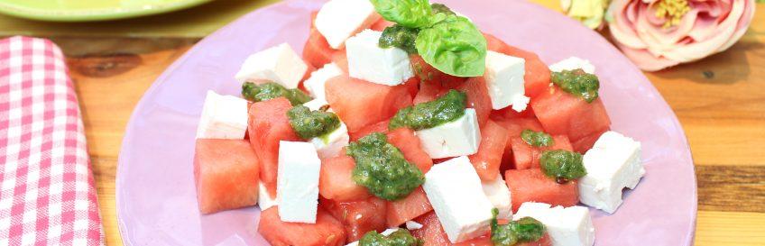 Feta-Melone mit Sweet-Basilikum-Pesto