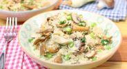 Blumisotto mit Pilzen und Hähnchen