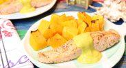 Röstbutternut mit Curry-Avocado-Kokoscreme und Lachs