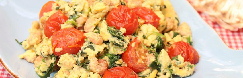 Spinat-Tomaten-Krabbenrührei