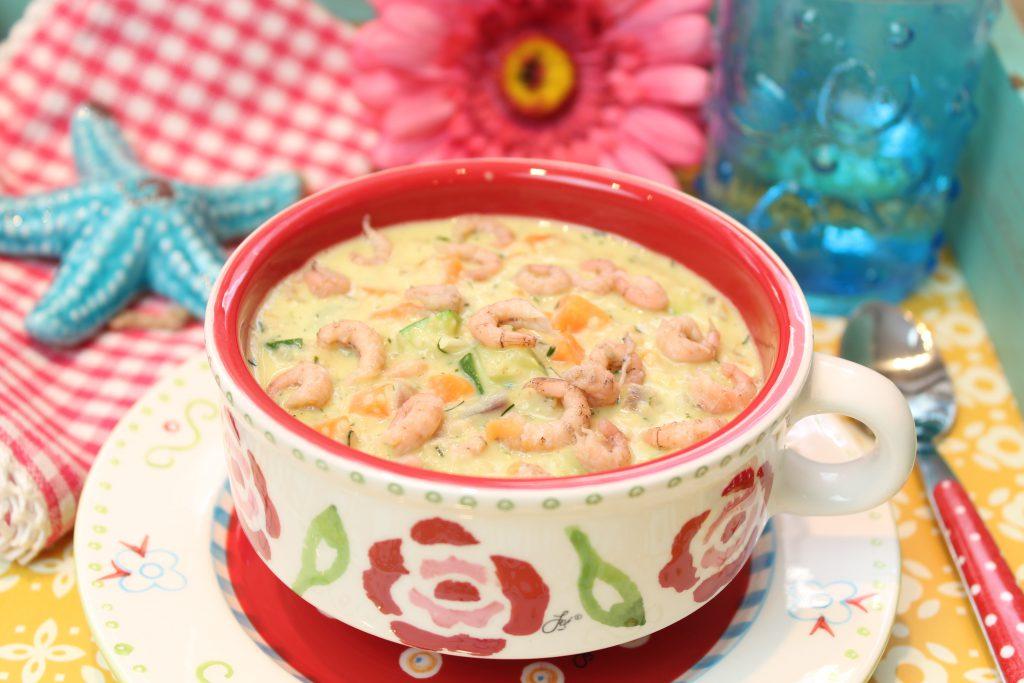 Gemüse-Porridge mit Krabben