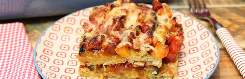 Auberginen-Chorizo-Blumisagne
