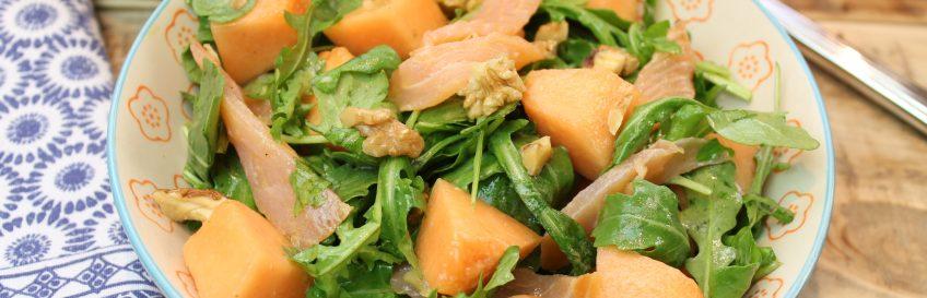 Rucola-Melonen-Salat mit Lachs