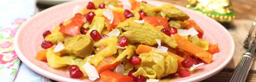 Schnelle vegane Kokos-Curry-Gemüsepfanne