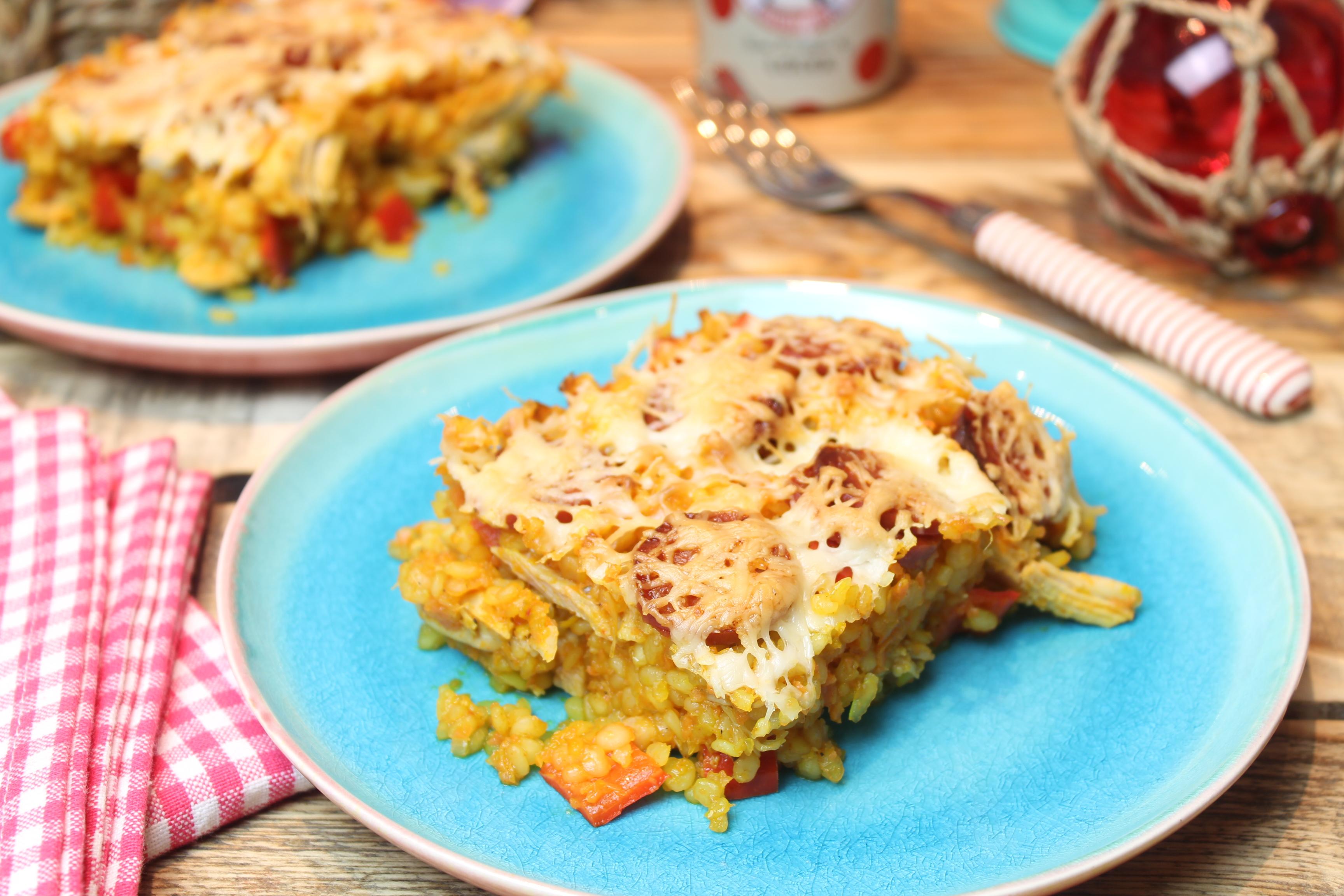 Konjak-Arroz con Pollo – Auflauf mit Konjakreis und Hühnchen