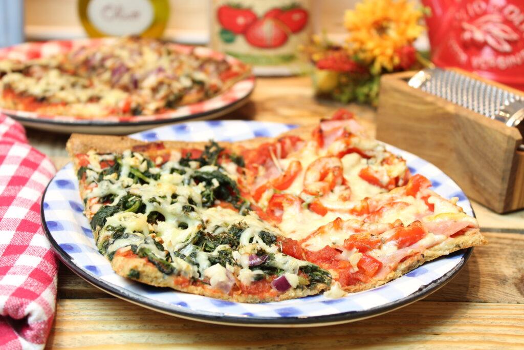 Haferkleie-Pizza Vier Jahreszeiten