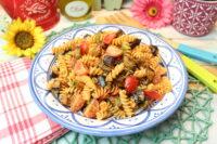 Auberginen-Linsennudelsalat mit Pesto-Frischkäsedressing